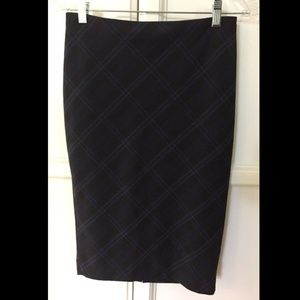 Express Navy / Black Plaid Pencil Skirt
